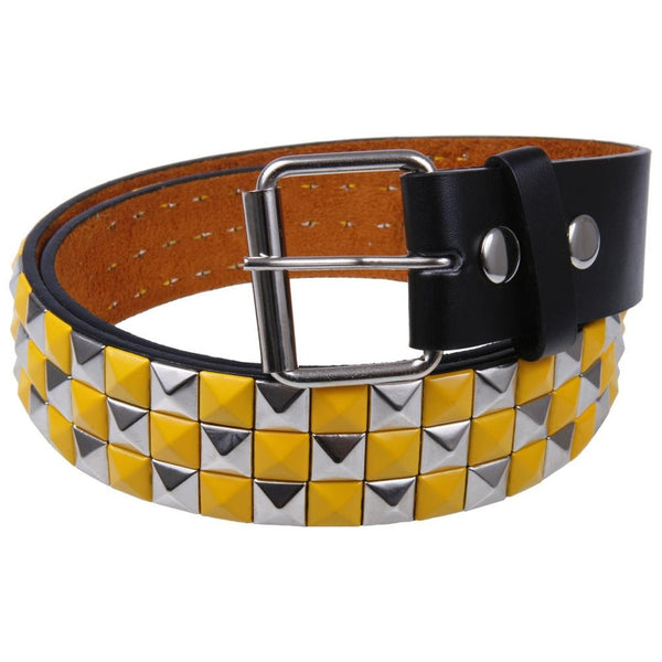Yellow Checker Studded Leather Belt