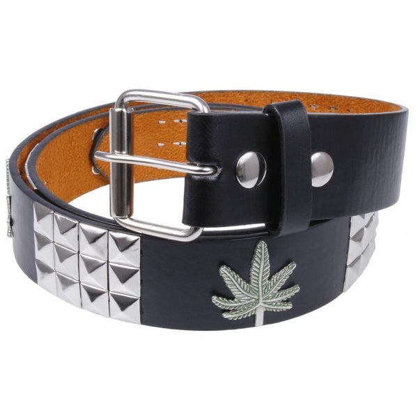 Pot Leaf Studded Leather Belt
