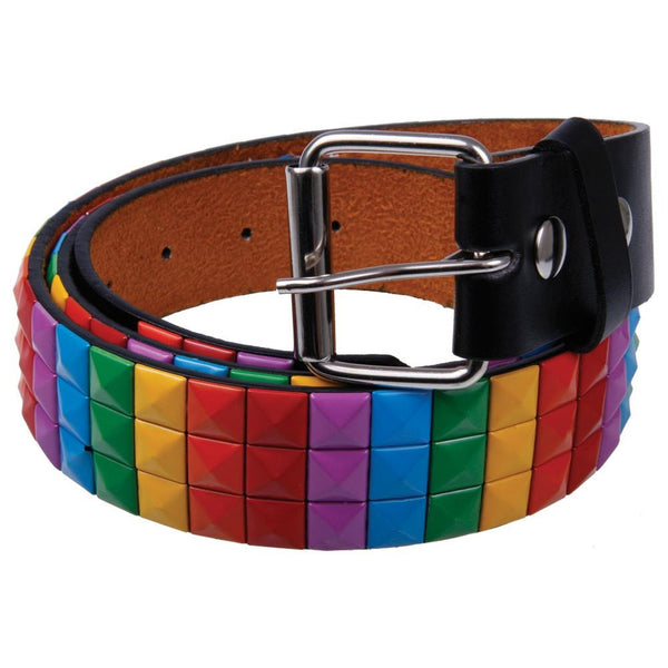 Rainbow Studded Leather Belt