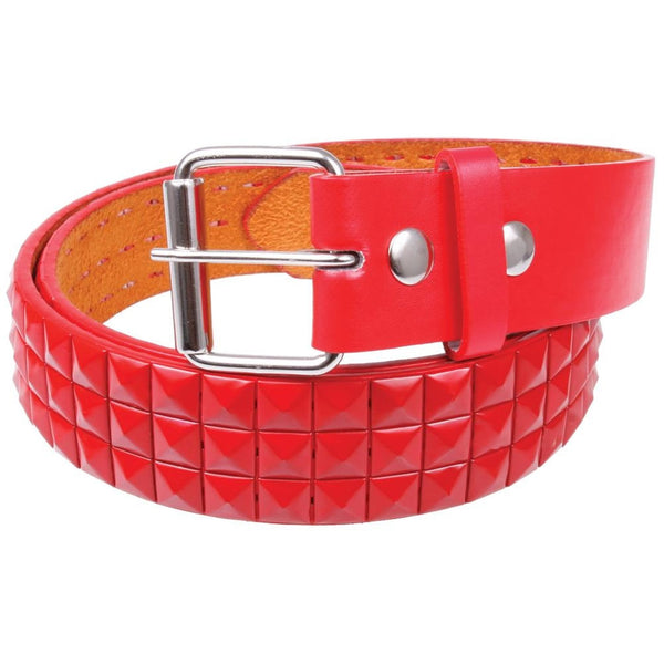 Red Studded Leather Belt