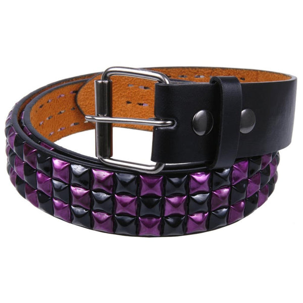 Purple Checker Studded Belt