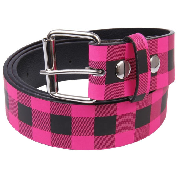 Pink Plaid Leather Belt