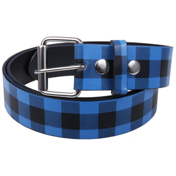 Blue Plaid Leather Belt