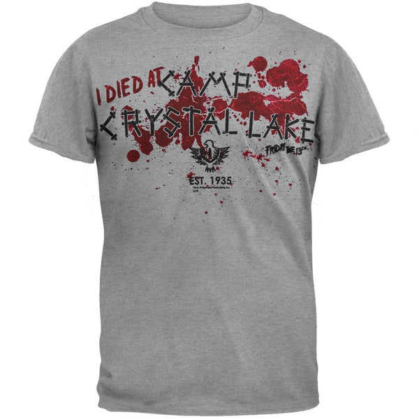 Friday The 13th - Camp Crystal Lake Grey Soft T-Shirt