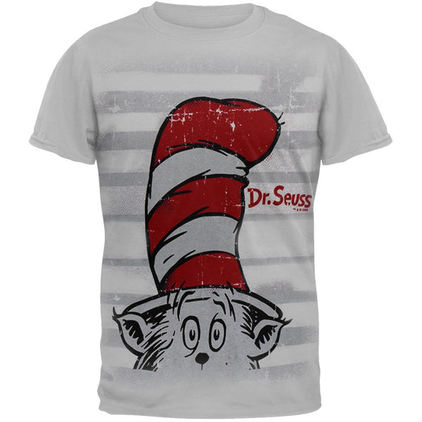 Dr. Seuss - Hat In The Shirt Grey Adult T-Shirt