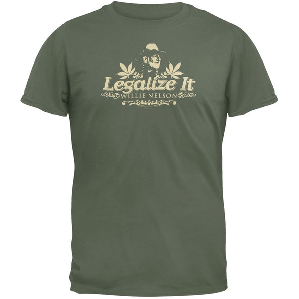 Willie Nelson - Legalize It Olive T-Shirt