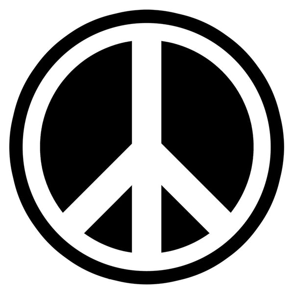 Small White Peace Sign Decal