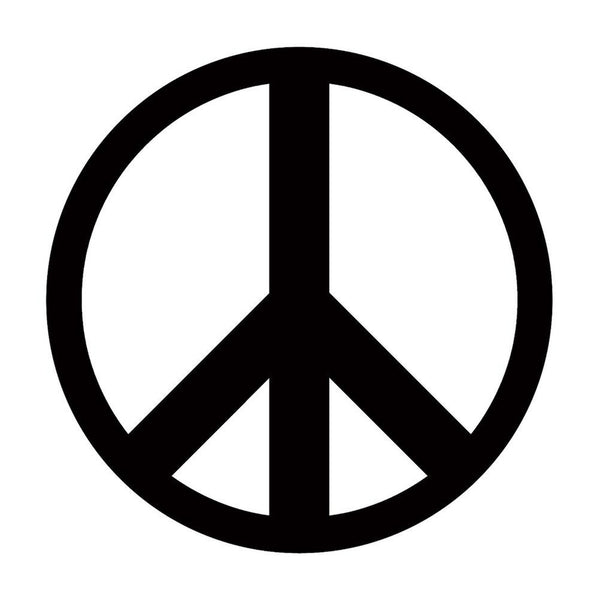 Large Black Peace Sign Decal
