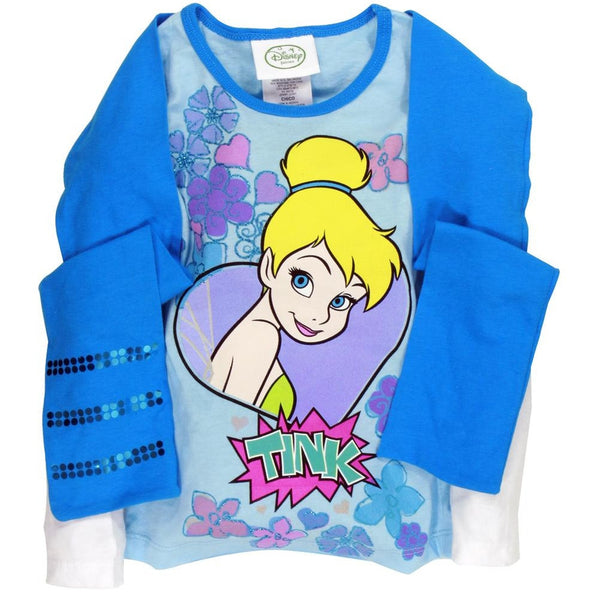 Tinkerbell - Flying Party Girls Juvy 2Fer Long Sleeve T-Shirt with Scarf