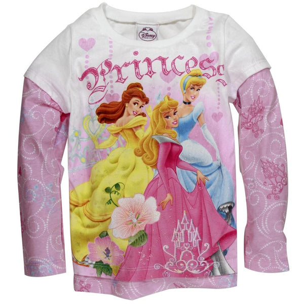 Disney Princesses - Dance Hearts Girls Juvy 2Fer Long Sleeve T-Shirt