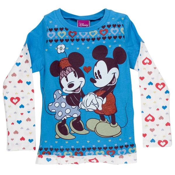80b742342f408 Disney - Heart Borders Girls Juvy 2fer Long Sleeve T-Shirt