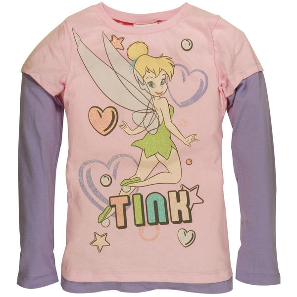 Tinkerbell - Bubble Hearts Girls Youth 2Fer Long Sleeve T-Shirt