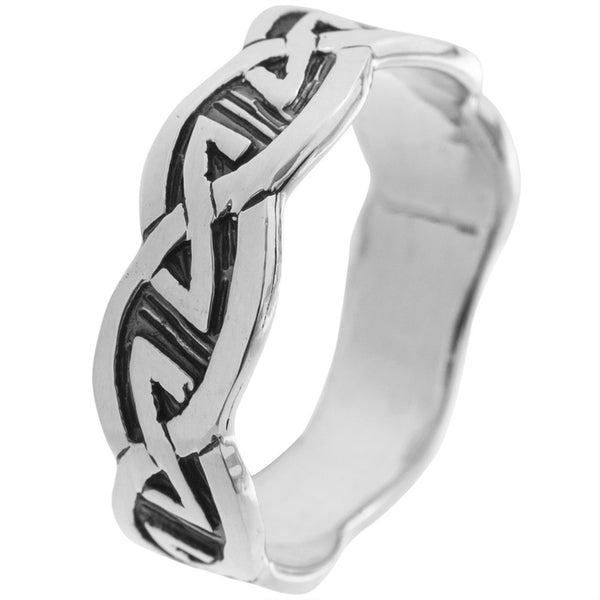Celtic Knot - Eternal Silver Ring with Black Inlay