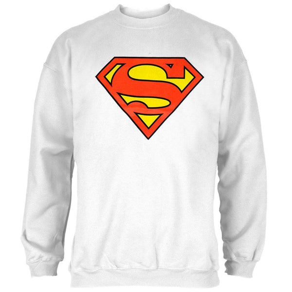 Superman - Shield Logo White Crew Neck Sweatshirt