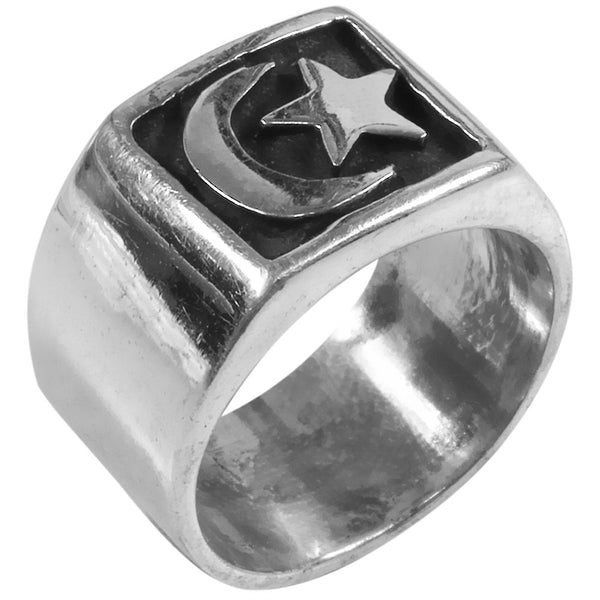 Inlaid Moon & Star Sterling Silver Ring