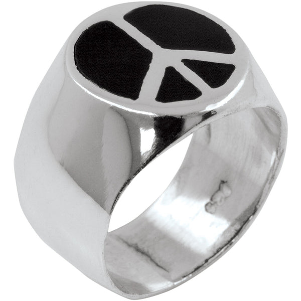 Inlaid Peace Sterling Silver Ring