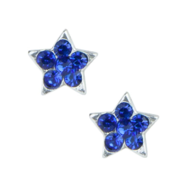 Stud Earrings - Sterling Silver Blue Gem Stars