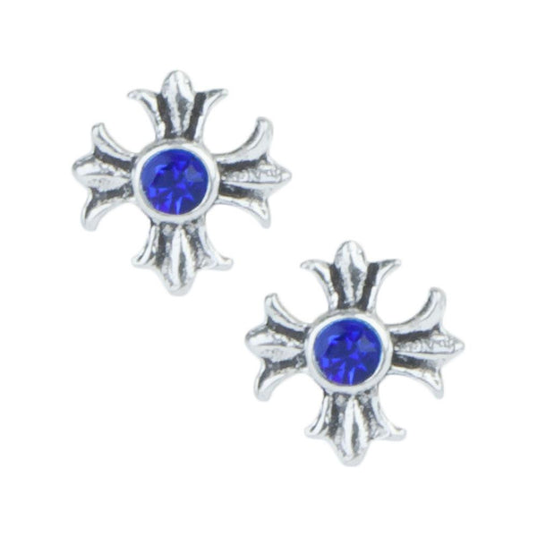 Stud Earrings - Blue Gem Crosses