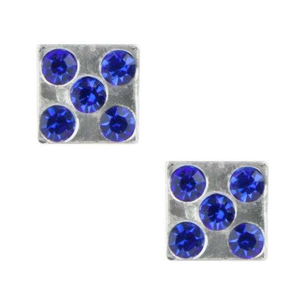 Stud Earrings - Blue Gem Dice