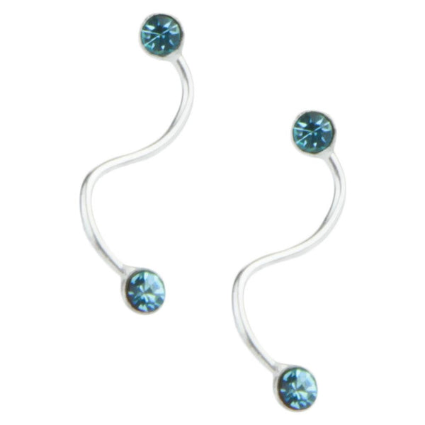 Stud Earrings - Blue Gem Squiggles