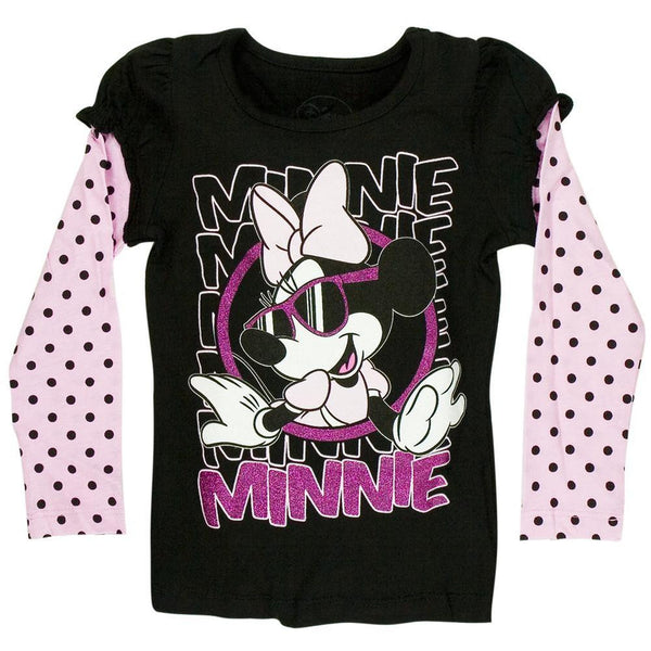 Minnie Mouse - Looked Out Girls Juvy 2fer Long Sleeve T-Shirt