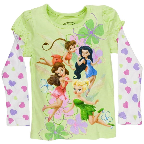 Disney Fairies - Linear Flower Girls Juvy 2fer Long Sleeve T-Shirt