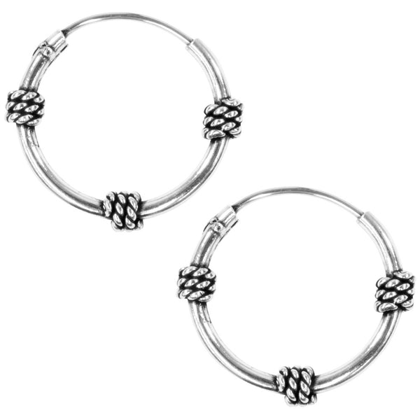 12mm Bali Hoop Three Knot Earrings