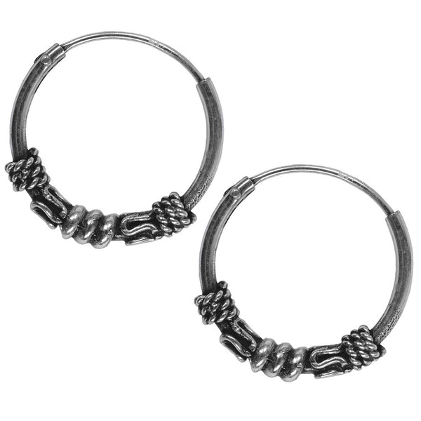 14mm Bali Hoop Rope Wrap Earrings