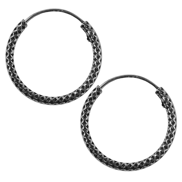 14mm Bali Hoop Mesh Design Earrings
