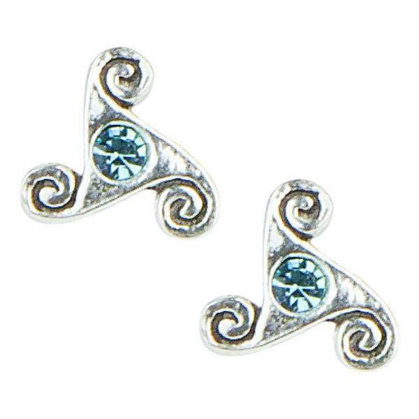 Stud Earrings - Blue Gem Celtic Spirals