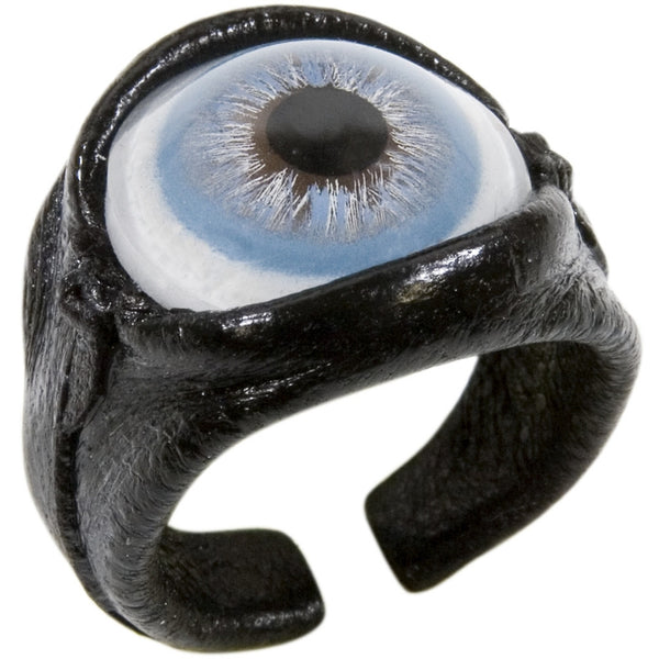 Blue Eyeball Leather Ring