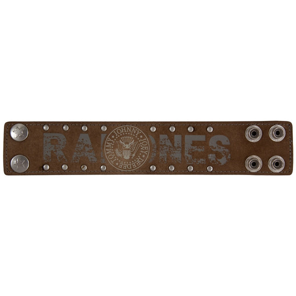 Ramones - Seal Logo Brown Leather Wristband