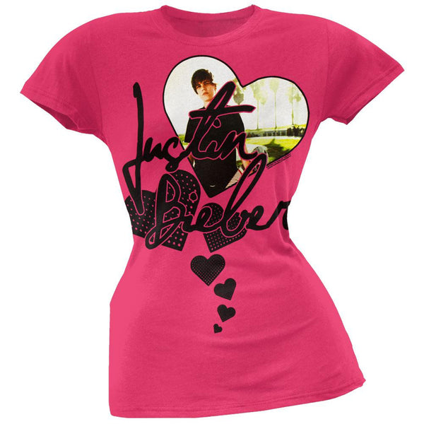 Justin Bieber - Heart Fuschia Juniors T-Shirt