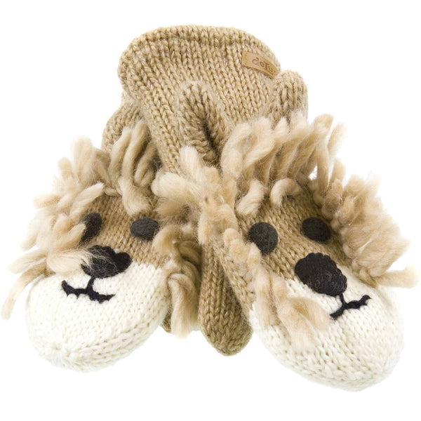 Lincoln The Lion Kids Knit Mittens