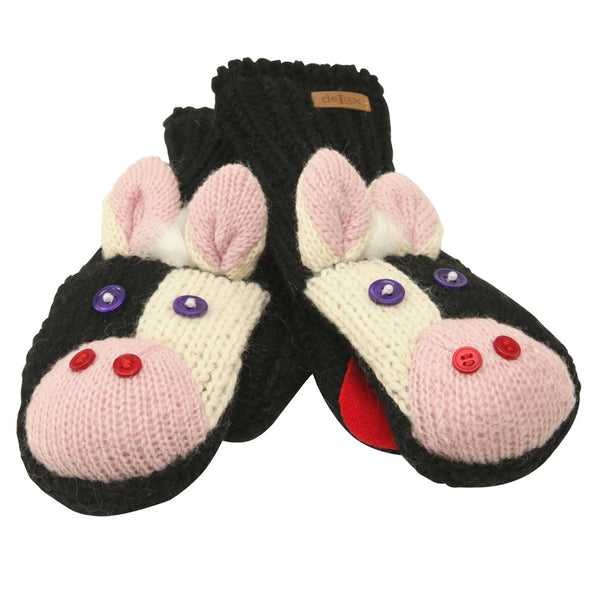 Calvin The Cow Knit Mittens