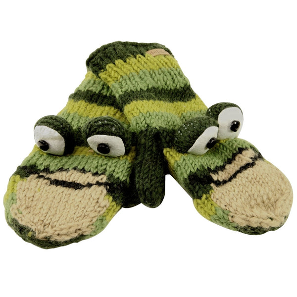 Ferny The Frog Kids Knit Mittens