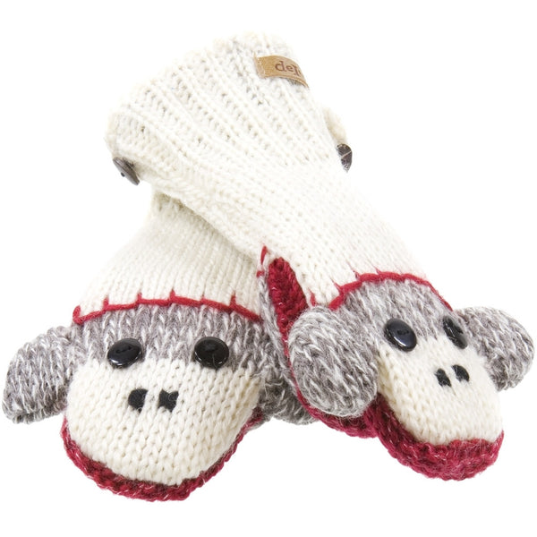 Cute Sock Monkey Kids Knit Mittens