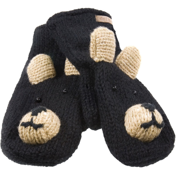 Babu The Black Bear Kids Knit Mittens