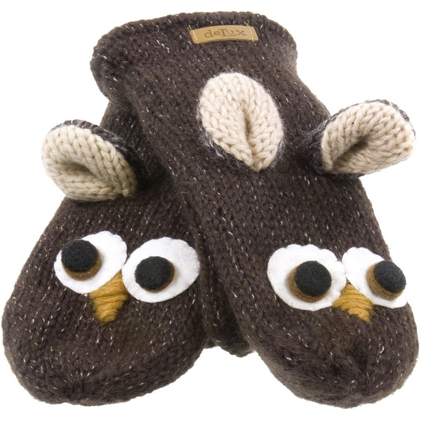 Ozzie The Owl Kids Knit Mittens