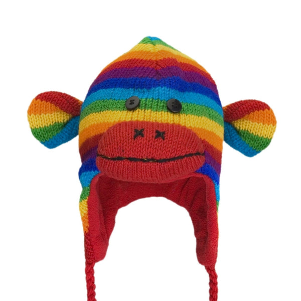 Rainbow Sock Monkey Peruvian Kids Knit Hat