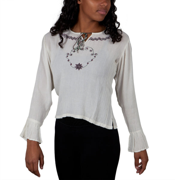 Embroidered Gauze Blouse - Long Sleeve