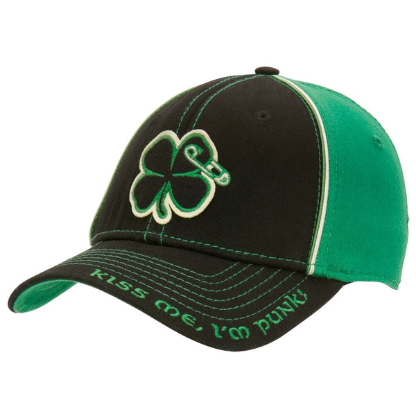 Green Day - Kiss Me I'm Punk Shamrock Flex-Fit Baseball Cap - front view