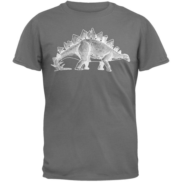 Antlers - Stegosaurus Soft Grey Adult T-Shirt