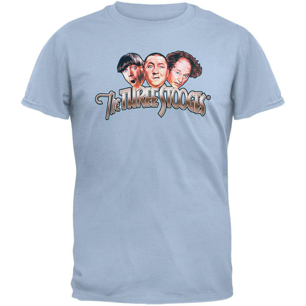 Three Stooges - Logo Light Blue T-Shirt