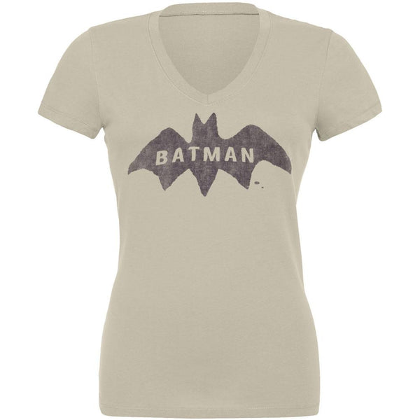 Batman - Distressed Logo Juniors V-Neck T-Shirt
