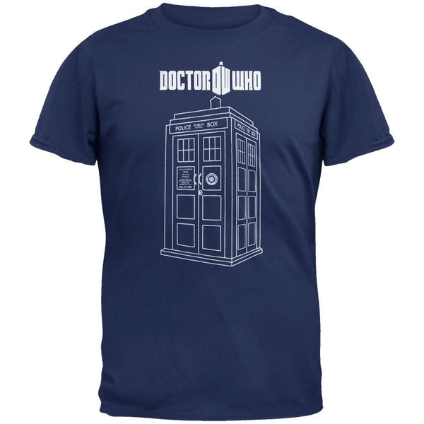 Doctor Who - Linear Tardis Navy Adult T-Shirt