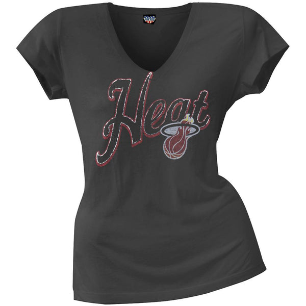 Miami Heat - Crackle Hoop Logo Juniors T-Shirt
