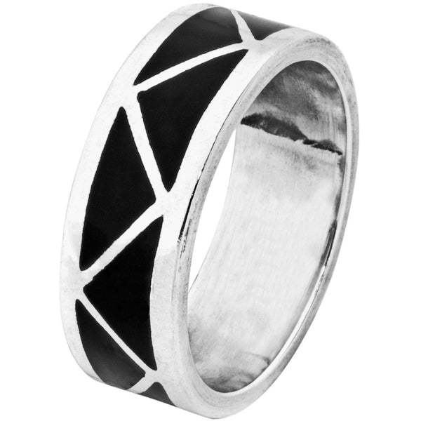 Black Onyx Inlay Sterling Silver Ring