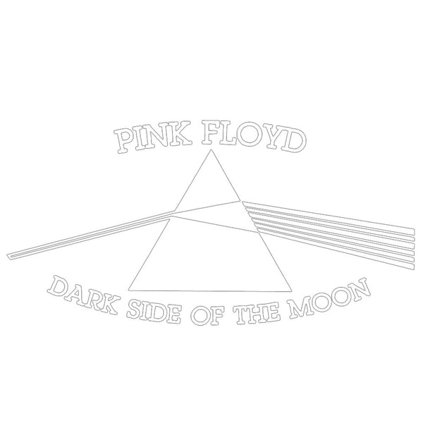 "Pink Floyd - Dark Side White Cutout Decal 3.75"" x 6.75"""