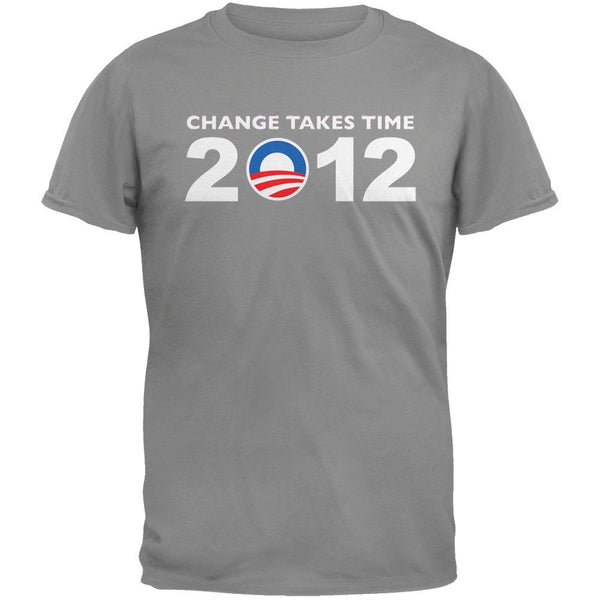 Obama - 2012 Change Takes Time Grey T-Shirt